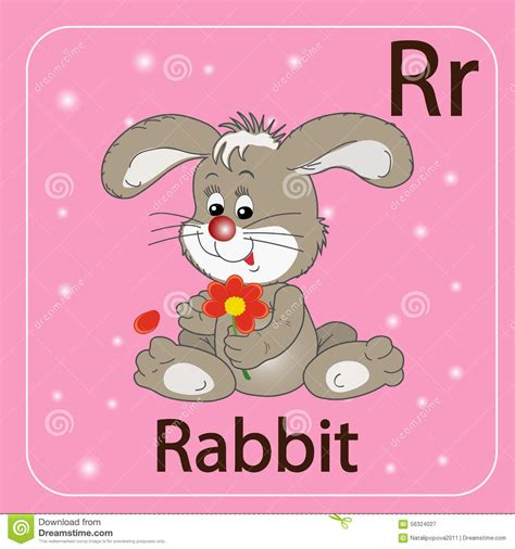 R Rabbit the letter r and a rabbit stock vector