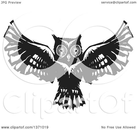 flying owl clipart clipart of a black and white woodcut flying owl royalty