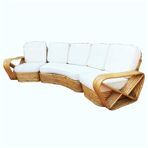 Restored Paul Frankl Style Six Strand Rattan Five Seat Rattan Curved Sofa