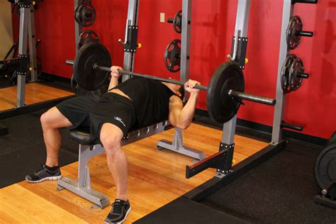 bench press in french barbell bench press medium grip exercise guide and video