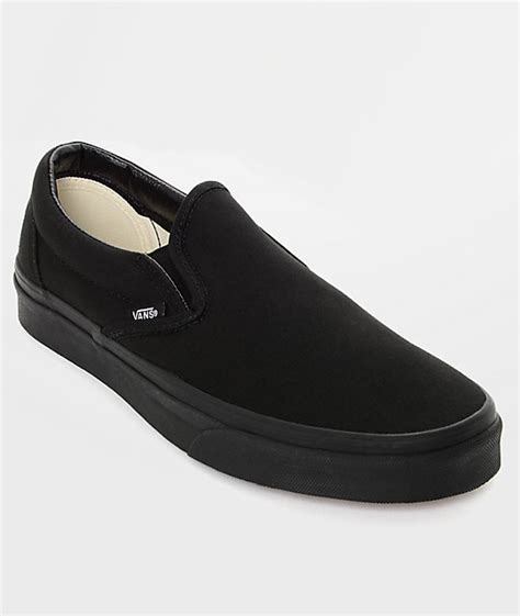 Vans Slip On Black vans classic slip on black monochromatic shoes zumiez