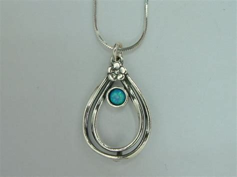 Handcrafted Silver Necklaces - n01116op shablool israel didae handcrafted opal sterling