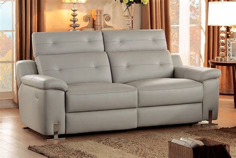 Grey Leather Reclining Sofa by Homelegance Vortex Top Grain Grey Leather Power Reclining Sofa