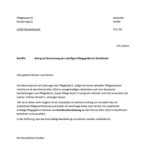 Musterbrief Widerspruch Pflegestufe 1 Antrag Auf Kobinationsleistungen Im Nachhinein