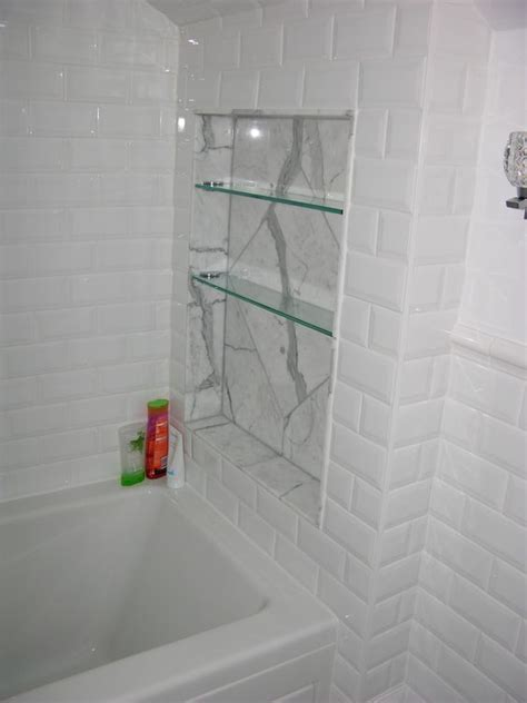 Niche Bathroom Renovations Statuario Marble Shower Niche And Glass Shelves With White