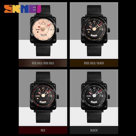 Jam Tangan Pria Black skmei jam tangan analog pria stainless steel 9172
