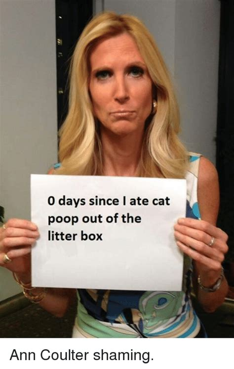 Ann Coulter Memes - 0 days since late cat poop out of the litter box ann