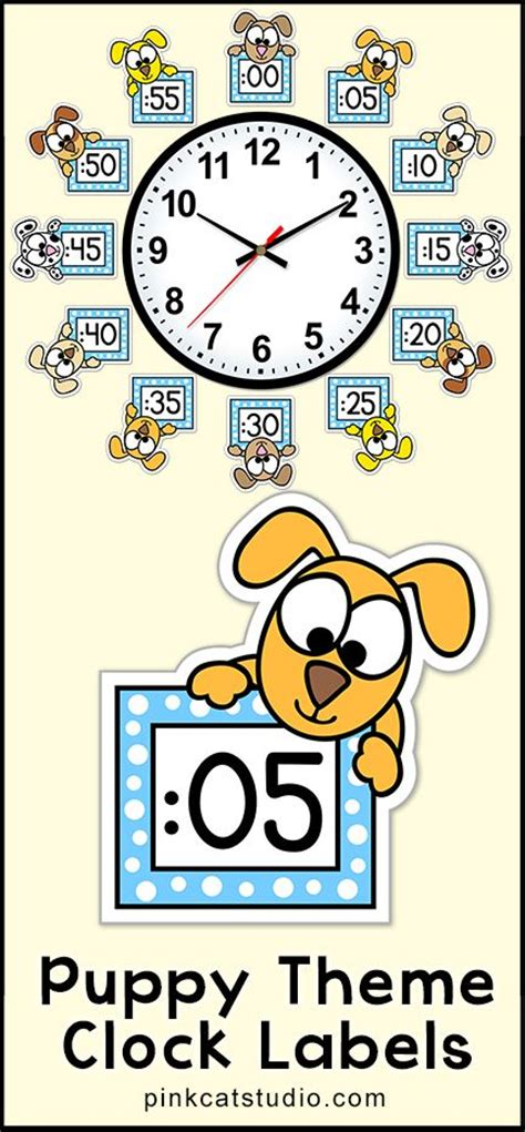 free printable clock labels these fun puppy theme clock labels will look fantastic