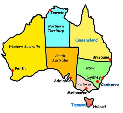 australia map with countries and capitals map of australia clipart best
