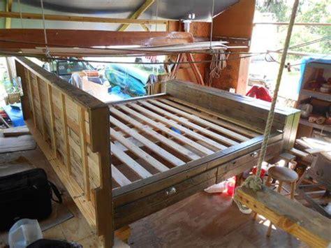 diy pallet bed with storage diy platform pallet bed plan with storage 101 pallets