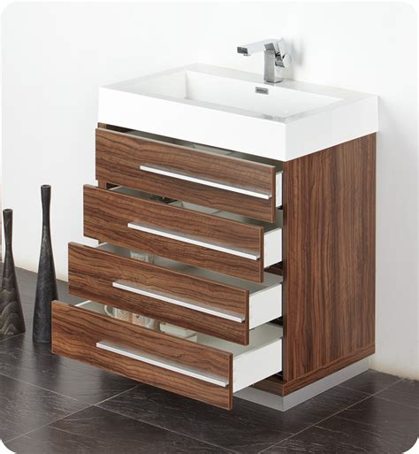 "Fresca Livello 30"" Walnut Modern Bathroom Vanity with"
