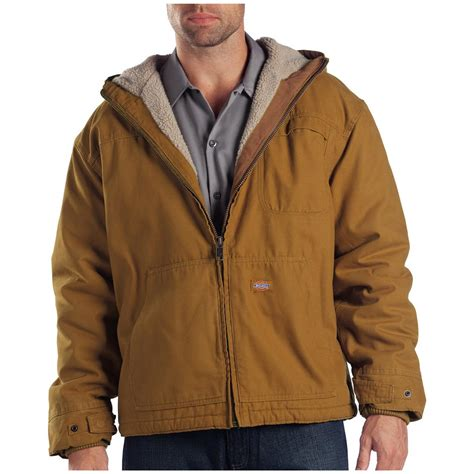 Hooded Jacket dickies 174 sanded duck sherpa lined hooded work jacket