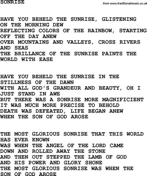 gospel song country southern and bluegrass gospel song sonrise lyrics