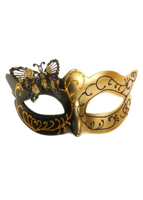Masker Gold butterfly black and gold venetian masquerade mask