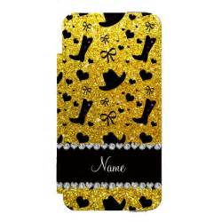custom  neon yellow glitter cowboy boots hats wallet case  iphone ses case