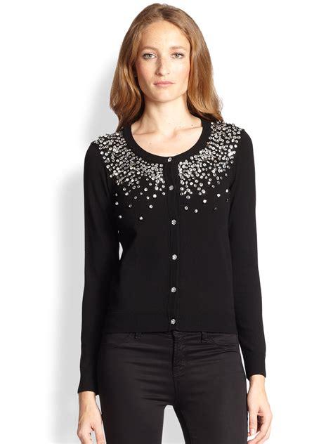 Sweater U Merah Jidnie Clothing lyst milly degrad 201 rhinestone cardigan in black