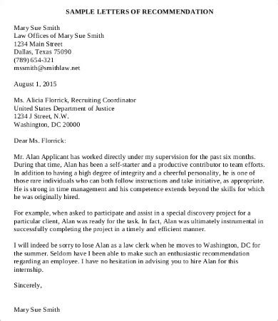 letter of recommendation sle employment coworker