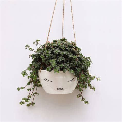 hanging pot white ceramic hanging planter face plant pot