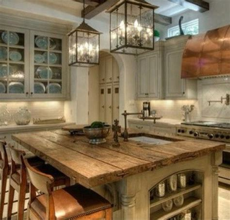 Love The Rustic Kitchen Island Would Change The Wall Lantern Lights Kitchen Island