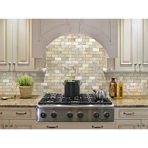 shop allen roth beige mosaic subway indoor