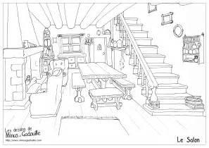 coloriages the living room le salon