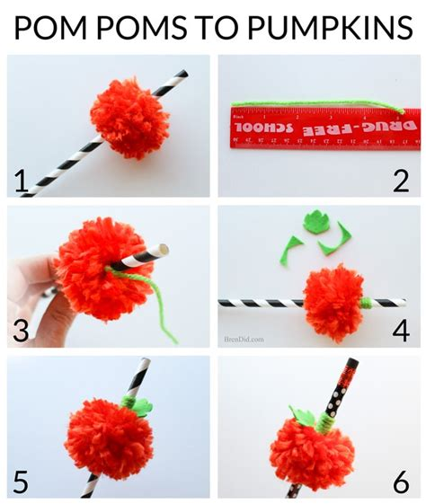 How To Make Small Paper Pom Poms - pumpkin craft pom pom straws bren did