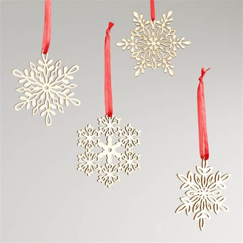 laser cut ornaments wood laser cut snowflake ornaments set of 12 world market