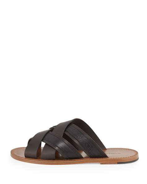 crocodile sandals lyst bottega veneta woven leather crocodile sandal in