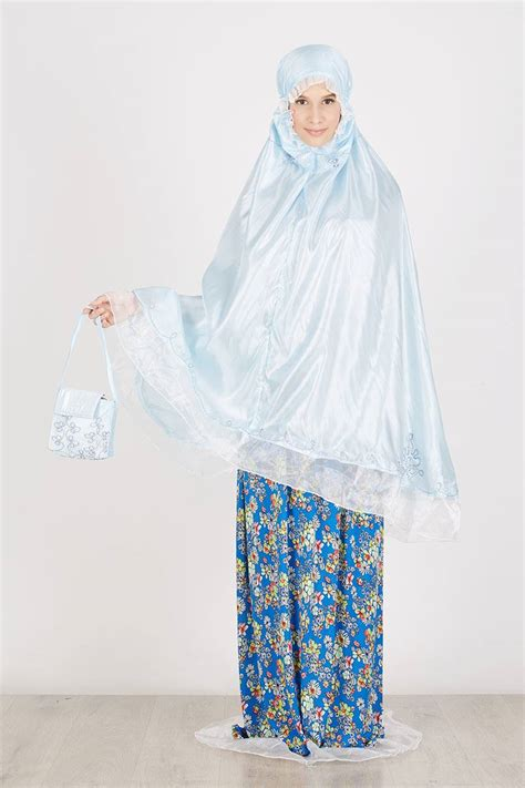 Mukena Colour sell mukena travel light blue with flower printing colour
