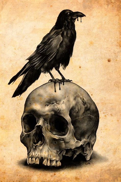 skull amp raven art print the skulls tattoo ideas and ink