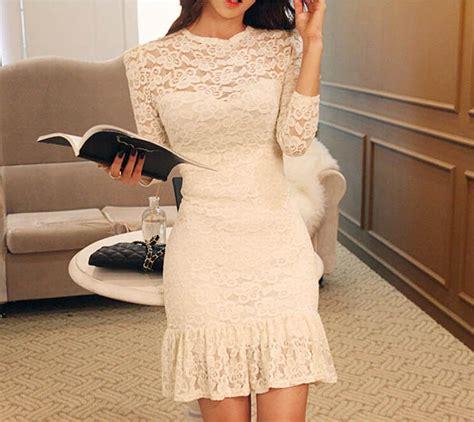 Dress Brukat Import Bangkok dress brukat putih lengan panjang cantik model terbaru jual murah import kerja