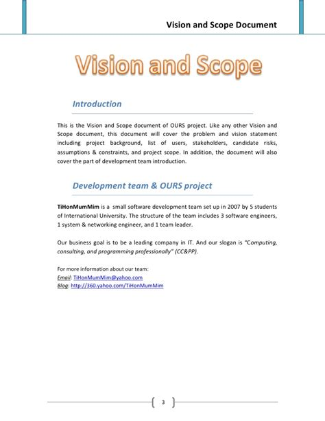 project vision template vision and scope document