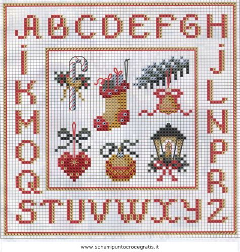 ricamo punto croce lettere natale alfabeti 62 schema da ricamare a puntocroce