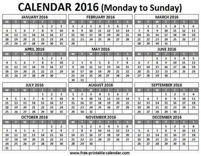 printable calendar 2016 monday first 2016 calendar 12 months on one page printable blank