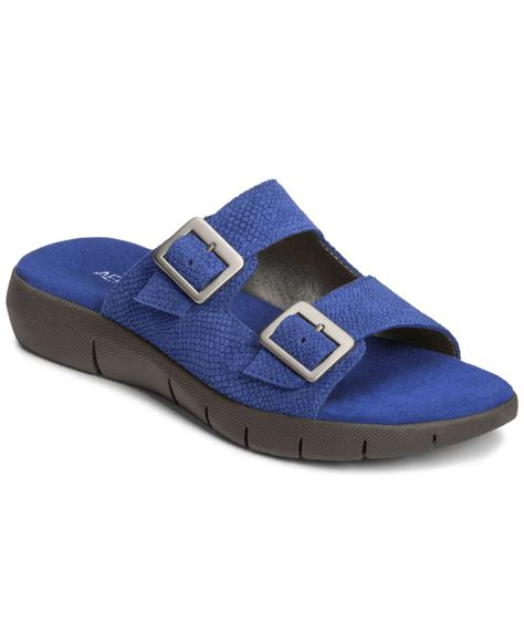 aerosol sandals lyst aerosoles wip code flat sandals in blue