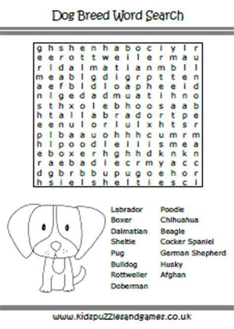 printable word search dog breeds welcome to kids puzzles and games