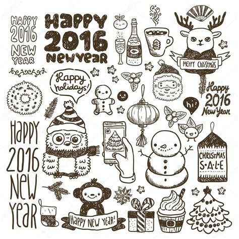 Doodle Happy New Year Set Stock Vector 169 Kostolom3ooo
