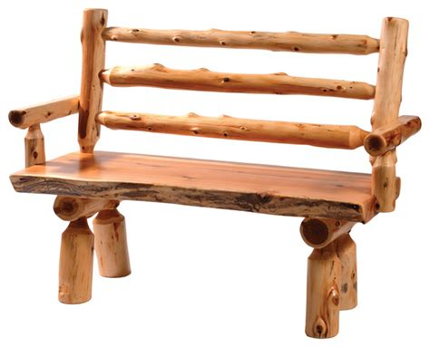 cedar log benches cedar log bench with back and armrests 48 quot rustic
