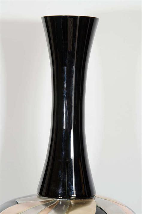 midcentury black ceramic vase with metal detail at 1stdibs
