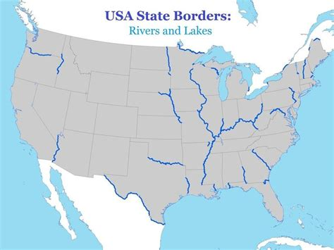 map of usa showing state borders usa state borders rivers and lakes 2500x1875 oc click