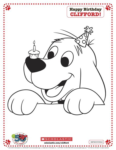 clifford printable birthday coloring page from scholastic