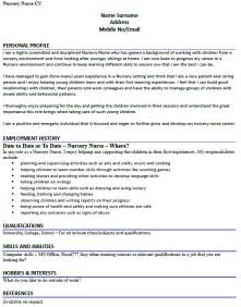 Nursery Worker Sle Resume by Cv Exle For A Nursery Lettercv