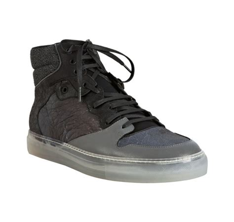Balenciaga Patchwork Sneakers - balenciaga black and grey patchwork hi top sneakers in