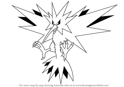 pokemon coloring pages zapdos image gallery zapdos drawings