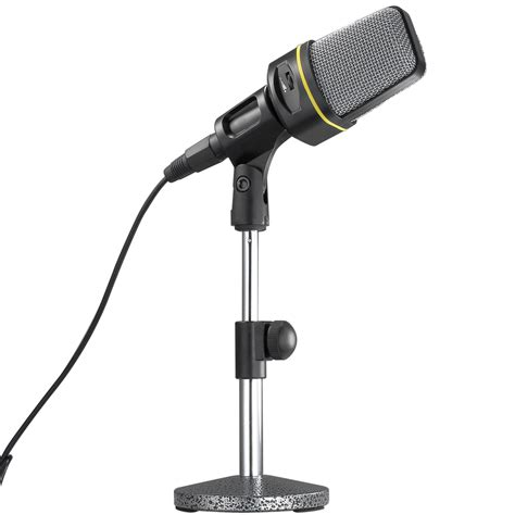 black professional desk microphone stand adjustable height