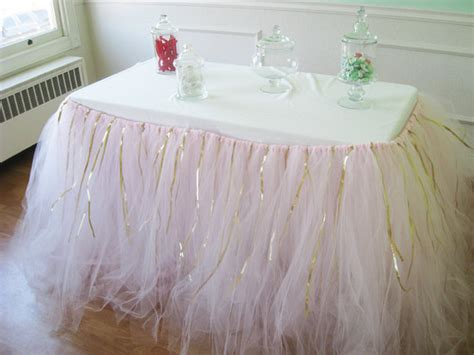 custom tulle tutu table skirt pink with gold ribbon