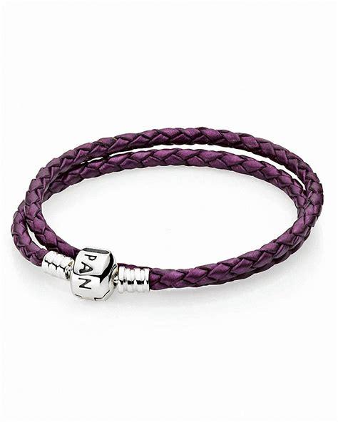 pandora bracelet purple leather wrap with