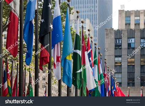 flags of the world new york city row international flags all over world stock photo