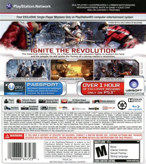 Ps3 Assassins Creed Ii Reg 3 Used Murah assassin s creed iii 2012 playstation 3 box cover
