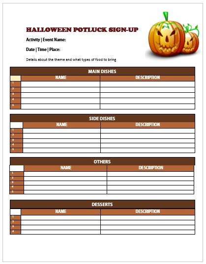 10 halloween potluck signup sheets printable word